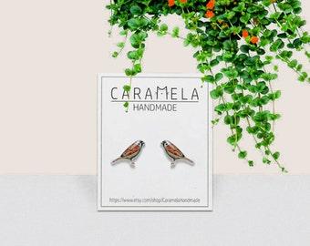 Sparrow Stud Earrings Bird earrings Small bird stud earrings Handmade earrings