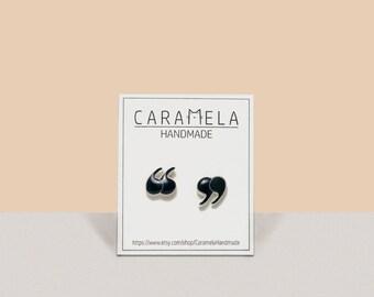 Quotation Marks Stud Earrings Post earrings Gift For Her