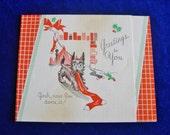 1930's Scottish Terrier Scotty Dog & Stocking Christmas Card Art Deco