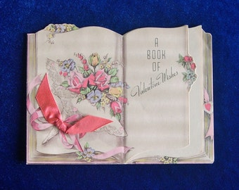 Gorgeous 1930's Rust Craft ValentineBook Card Satin Like Paper Art Deco Font