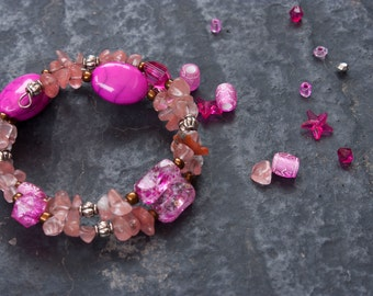 Pink Shell Wire Bangle Bracelet