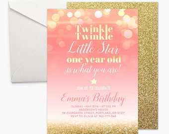 Twinkle Twinkle Little Star Pink and Gold First Birthday Invitation One Year Old Girl 1st Birthday Invite Gold Glitter Printable Coral Bokeh