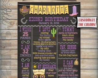 Second Birthday Poster Cowgirl Theme, 2nd Birthday Chalkboard Personalized Milestones Sign, Custom Stats Poster, Digital Printable File