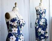 "Hawaiian Sarong Dress – Rockabilly -  Pinup - Tiki - True Hawaiian fabric -  ""Blue Hawaii"" dress by Oceanfront - M"