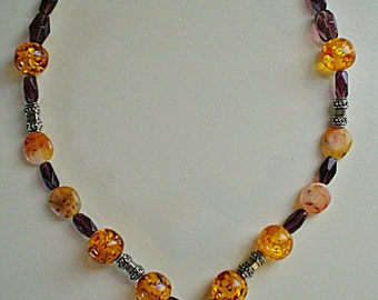 Handcrafted Ladies Carnelian, Amber and Glass Bead Semi Graduated Chunky Necklace