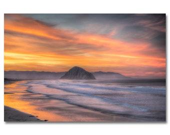 Morro Bay and beach sunrise photo / sunrise photo | Morro Rock & waves photo / morro strand beach photo / california beach photo / wave art