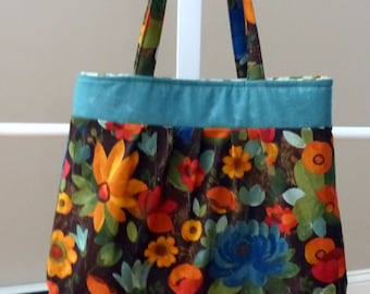 Floral Pleated Purse Tote Bag, Flowers Shoulder Bag,
