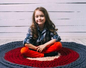 Chunky Floor Rug, Crochet Rug, Chunky Wool Rug, Large Floor Rug, Crochet Round Rug, Round Rug, Wool Rug, Chunky knits