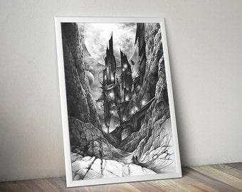 fantasy illustration ART PRINT by Katarzyna Kmiecik / pencil drawing, futuristic artwork, drawing print, future architecture, realistic art