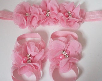Baby barefoot sandals Set/light pink headband/light pink barefoot sandals/ baby girl bare sandals/ pink baby headband/newborn baresandals