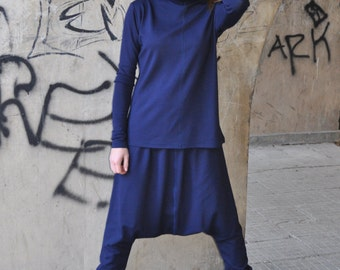 Blue Sports set , Elegant Navy Bliue Tricot Set , Drop Crotch Pants , Extravagant Turtleneck tunic by EUGFashion - SE0542PM