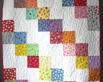 Baby Girl Quilt- Feed sack Baby Quilt- Granny Chic Baby Bedding- Granny Chic Nursery-Classic Nursery Quilt-1930s Baby Quilt-Sweet Baby Quilt