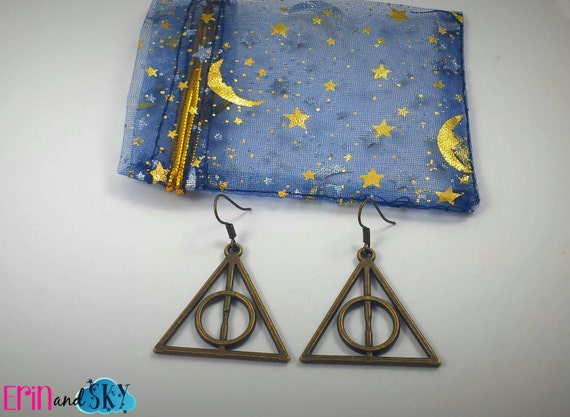 Bronze Deathly Hallows Earrings - FREE SHIPPING - Harry Potter Inspired Jewelry - Potterhead Geeky Literary Inspired Gift - Geek Gift