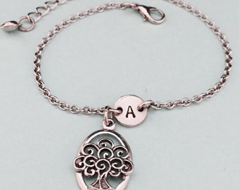 Tree of life charm bracelet, tree of life charm, adjustable bracelet, family, personalized bracelet, initial bracelet, monogram