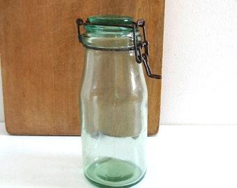 Vintage Light Green Glass Jar MANUFRANCE - French Antique Glass Pot - Rustic Kitchen Decor