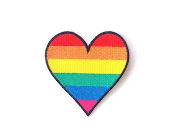 LGBT Rainbow Heart Iron on Patch Size 7.5 x 8 cm