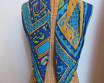 Designer Silk Scarf by Adrienne Vittadini, Colorful Blue, Gold, Green, Turquoise