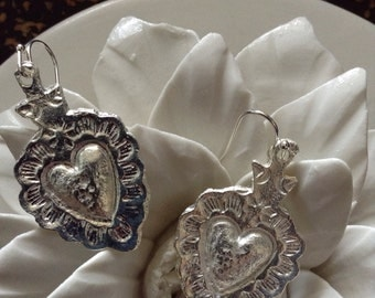 Stunning Authentic Mexican Pewter Sacred Heart Earrings. Heart with details. Very limited availability. Milagros