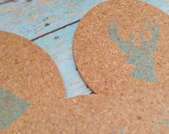 Antler Cork Coasters, Set of 4, Painted Cork Coasters, Antler Coasters, Deer Coasters, Cowgirl Coasters, Painted Coasters, Cork Coasters