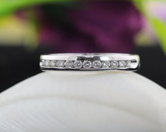 14k White Gold 0.24CTW Channel Set Diamond Anniversary Ring, Wedding Band, Eternity Wedding Band, Anniversary Band