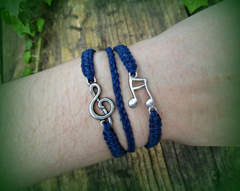Hemp Music Bracelet - 3 in 1 Treble Clef and Sixteenth Note Charm Bracelet