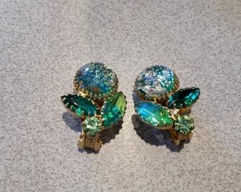 Faux Opal/Rhinestone/Crystal Vintage Earrings
