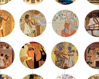 """Instant Download, Egyptian Art, Digital Collage Sheet, Bottle Cap Images, 1.5"""", 1.25"""", 1 inch, 30mm, 25mm circles, dcc139"""