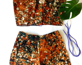 African Shorts and Crop // Summer Crop Set // Orange wax dot print