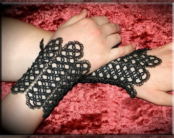 Tatted lace bracelet - Gothic bracelet - Black cuff bracelet - Tatted jewelry - Black bracelet - Gothic black gloves, Inspirational bracelet