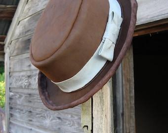Leather Pork Pie Hat