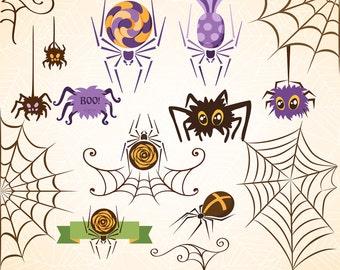 SALE! HALLOWEEN Digital Clipart Spider Web Clip Art Scrapbooking Invitations Happy Halloween Cobweb Printable Digital Graphics png 300 dpi