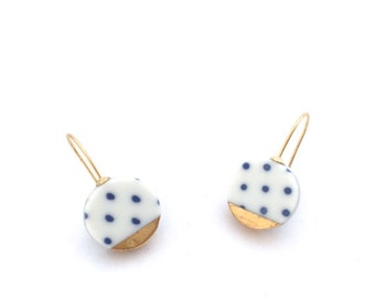 Blue and white Porcelain earring, ceramic jewelry, Polka dots, 18k gold earrings, minimalist earrings, geometric earrings, wedding jewelry