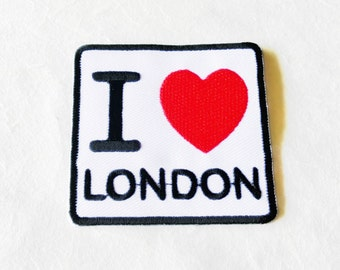 I Love LONDON Iron on Patch(M1) - Text - Words - Message Iron On Patch Embroidered Applique Size 6.1x 5.8 cm