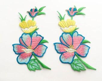2 pcs  Pink, Soft Blue,Yellow, Gold  Flower Patch/Embroidered Flower Patch /Embroidered Iron on Patch / Flower Applique Size 5.9x11.8cm