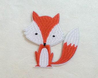 Orange Fox Iron On Patch (L) -  Orange Fox cute Applique Embroidered Iron on Patch Size 8.0x7.2 cm