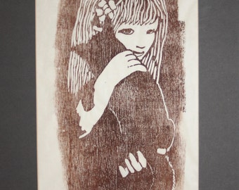 Barbara Tumarkin Dunham, Modernist Woodcut Print-Original, Signed-Girl with Cat