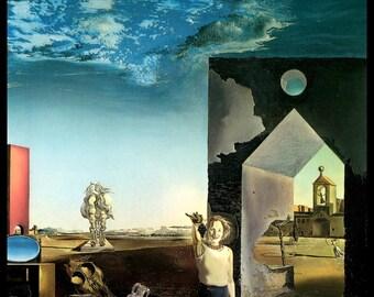 "Salvador Dali Print, ""Of Paranoic Critical Town"", Salvador, Dali, Surrealism, Dali Painting,  Circa 1936, Vintage Book Plate Print, Dali Art"