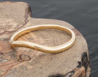 Hand Panned British Gold and 18ct EcoGold Curved Wishbone Wedding Ring