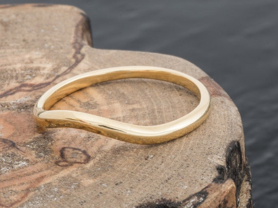 Hand Panned British Gold And 18ct EcoGold Curved Wishbone