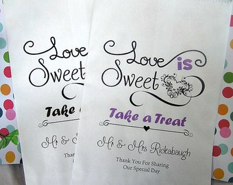 Wedding Candy Bags (24 BAGS) - Wedding Favor Bags - Love is Sweet CB01za