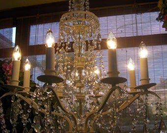 Very Large~ 4 FOOT TALL Crystal Chandelier
