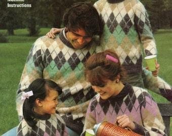 Machine Knitting Pattern - Family Sweaters - Diamond Fair Isle Pattern