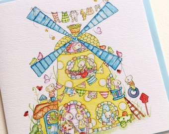 Greetings Card, Mouse Spotty Windmill
