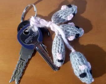KEYRING with WOOL MICE