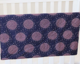 Organic cotton and bamboo baby blanket, purple floral starburst - girl