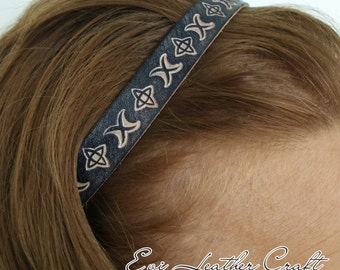 Black Leather headband / hair fashion / handmade hair accessory / unique / 011