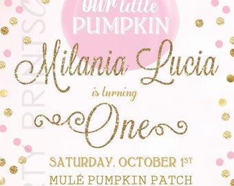 Our Little Pumpkin First Birthday Invitation- Pink & Gold, Fall, Pumpkin, Gold Glitter, Our Little Pumpkin, Turning One