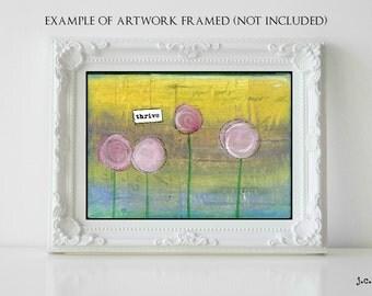 Sale!  5x7 Original painting, whimsical flowers, flower painting, mixed media painting, mixed media flower, flower art, floral art, Thrive