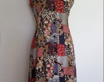 Patchwork dress, S, plaid dress, floral dress, corset back dress, 80's dress, button front dress, spring dress, summer dress, fall dress