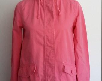 Pink jacket, S, pink windbreaker, cotton jacket, summer jacket, spring jacket, english rose jacket, hooded jacket